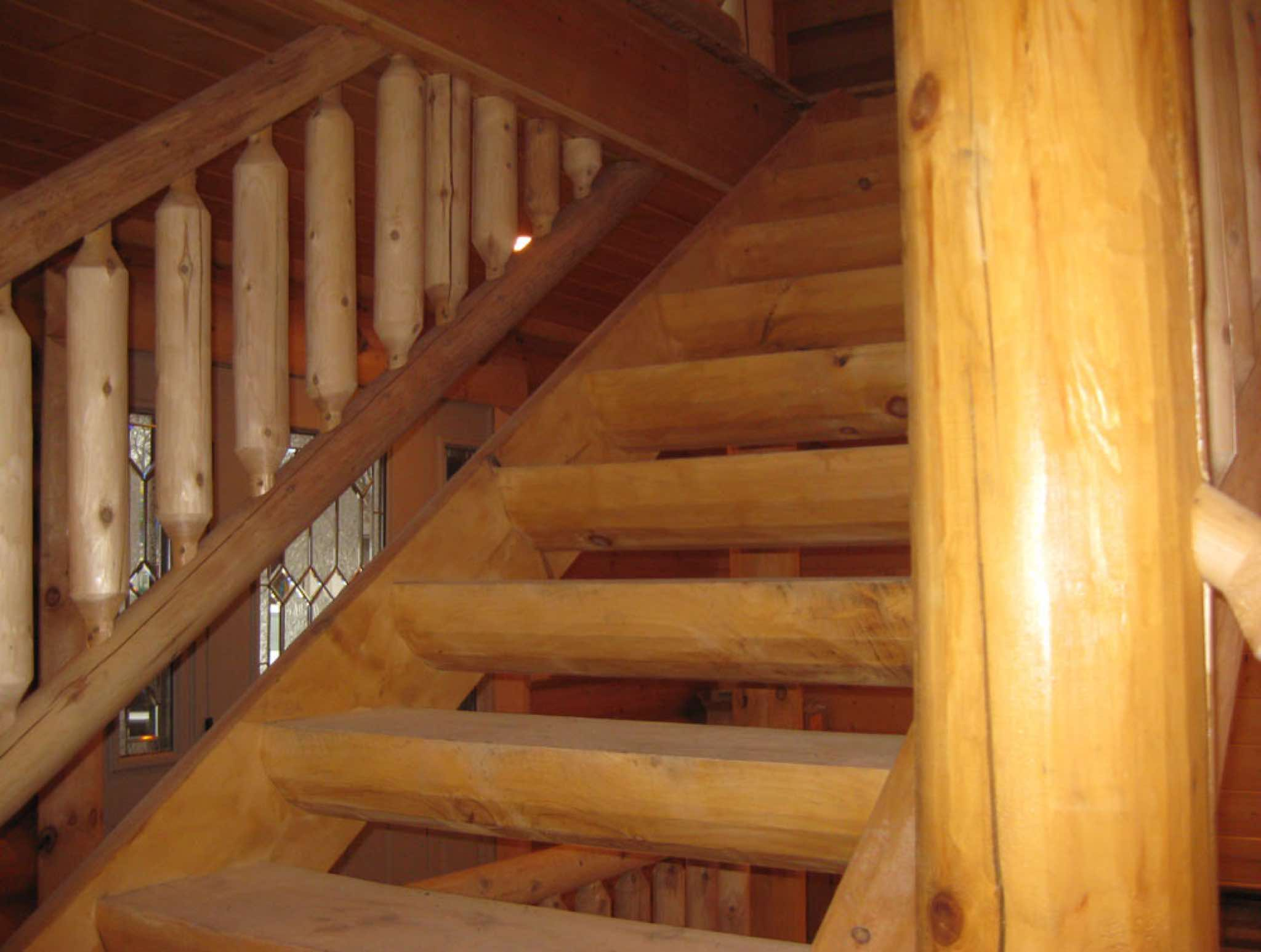Log Railings And Stairs Are Great For That One Of A Kind Look That You Can  Only Get With Log.